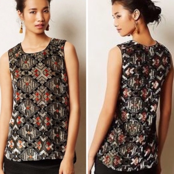 Anthropologie Tops - Meadow Rue shimmered velvet tank top